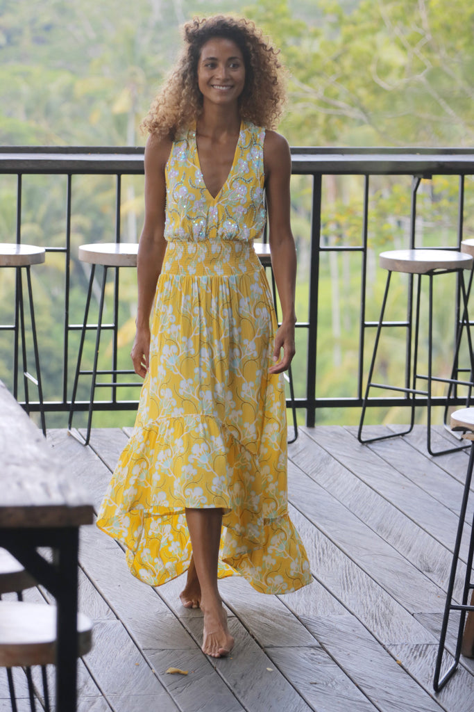 Dress Sienna High Low Blue Bell Yellow