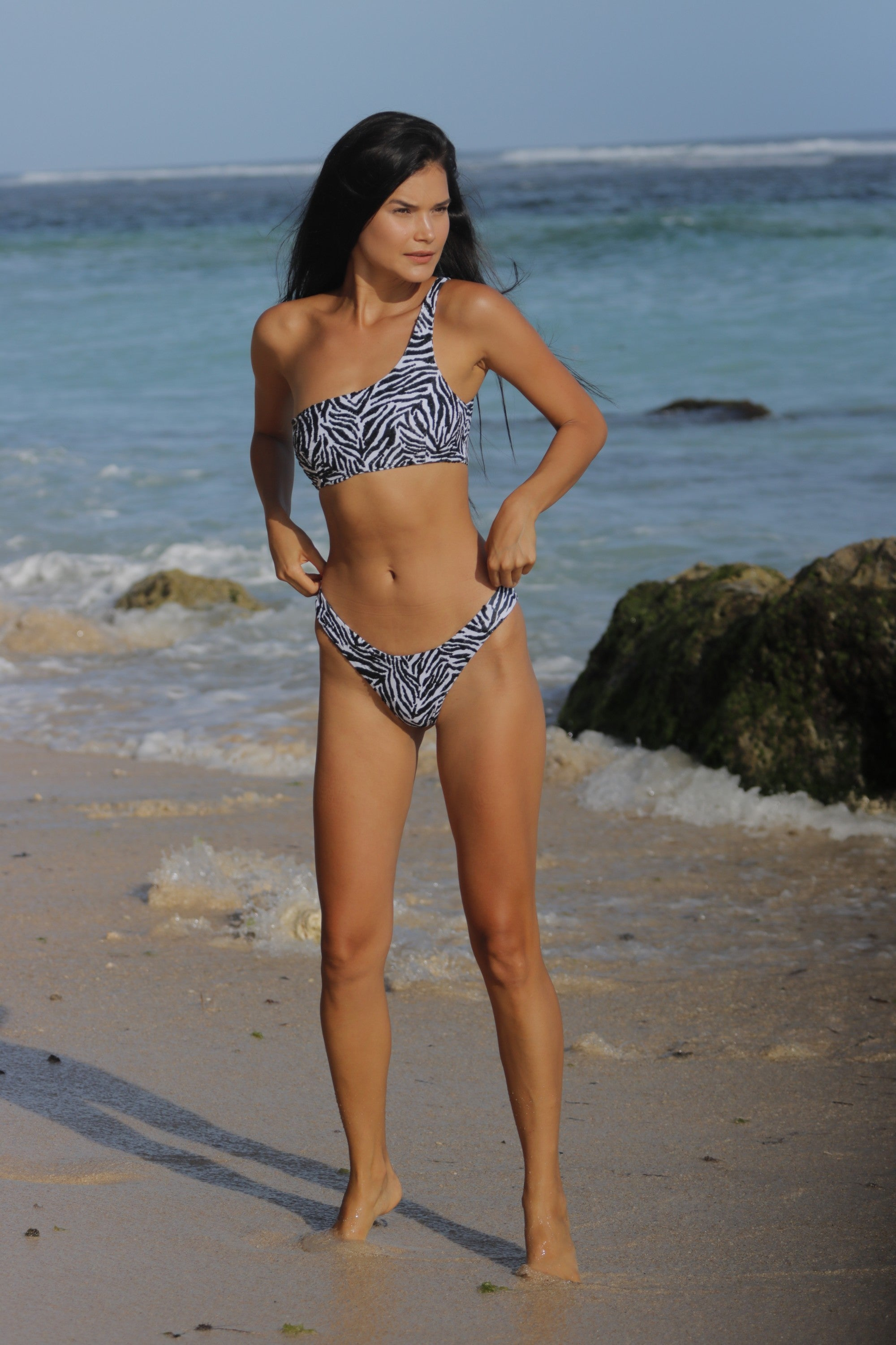 Bikini One Shoulder Zebra