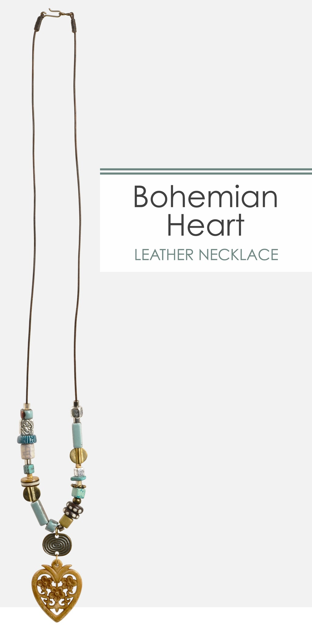 Bohemian Heart Leather Necklace Tamara Scott Designs