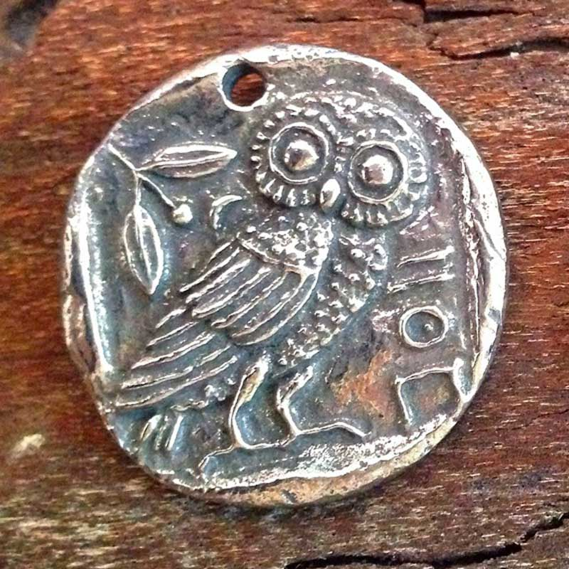 Green Girl Studios-Owl Coin-Antique Pewter-Quantity 1