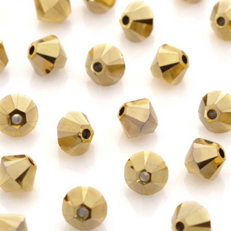Crystal-4mm Swarovski Bicone-5301-Aurum 2X