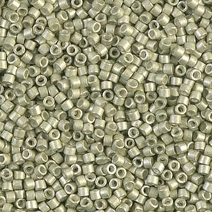 Seed Beads-11/0 Delica-1181 Galvanized Silver Frosted Aloe-Miyuki