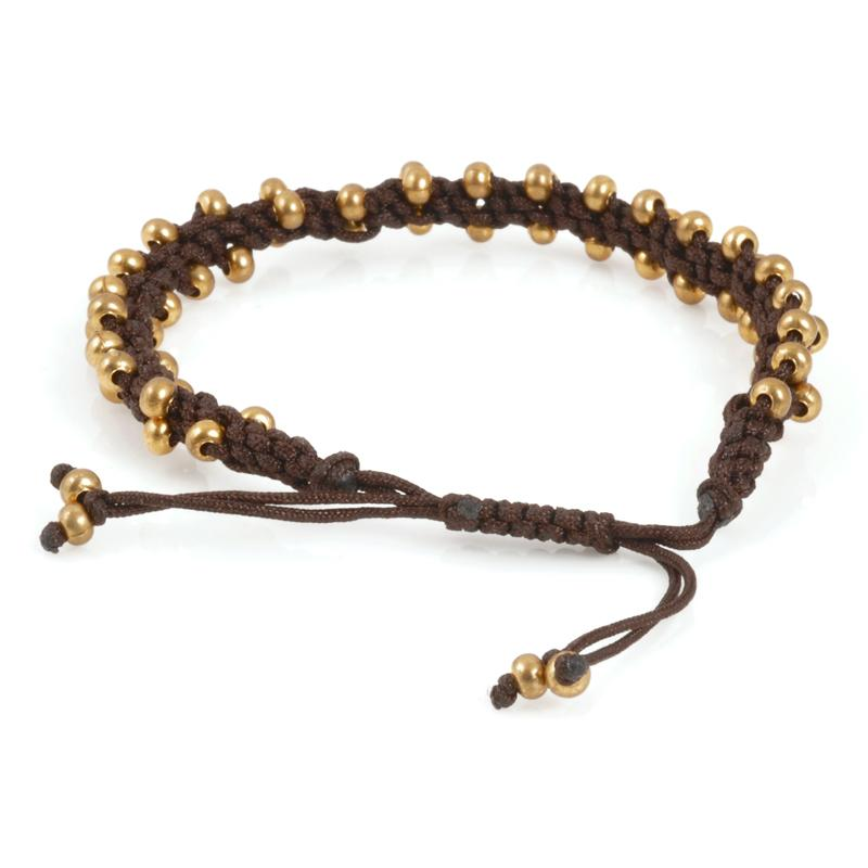 Hand Braided Bracelet-Gold Drop-Chocolate Brown