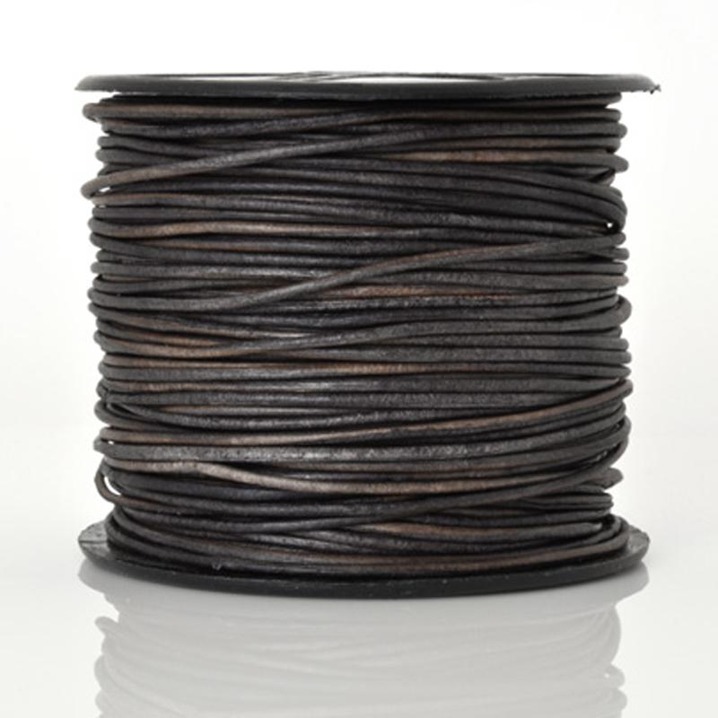 Leather Cord-1mm Round-Soft-Natural Dark Grey