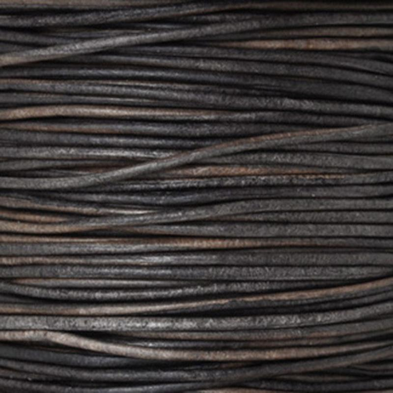 Leather Cord-2mm Round-Soft-Natural Dark Grey