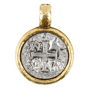 Pewter-21mm Ancient Cross in Bezel Pendant-Antique Silver Over Gold