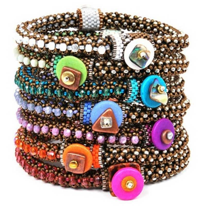 Bead Kits-Circle Of Gems Summertime-Single Bracelet Kit-Tangerine-Pattern Sold Separately