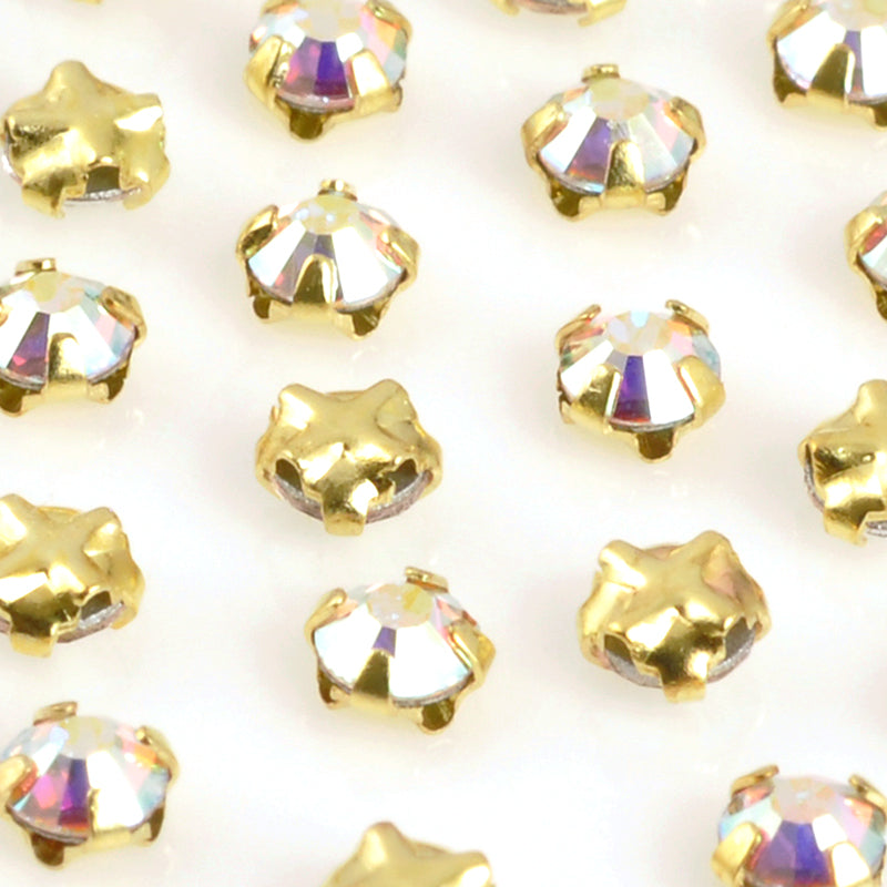 Beads-3mm Crystal AB Rhinestone Montees-Gold-Quantity 4