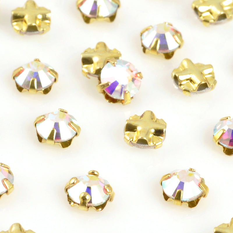 Beads-4mm Crystal AB Rhinestone Montees-Gold-Quantity 4