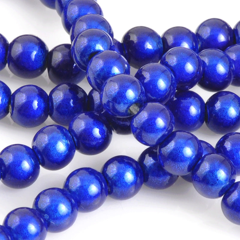 Beads-4mm Japanese Miracle Beads-Round-Royal Blue-Quantity 1