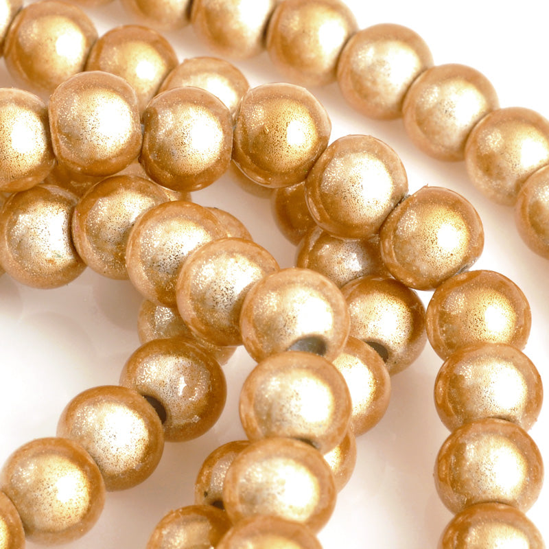 Beads-6mm Japanese Miracle Beads-Round-Caramel-Quantity 1