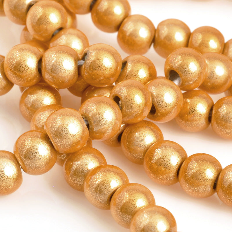Beads-6mm Japanese Miracle Beads-Round-Light Bronze-Quantity 1