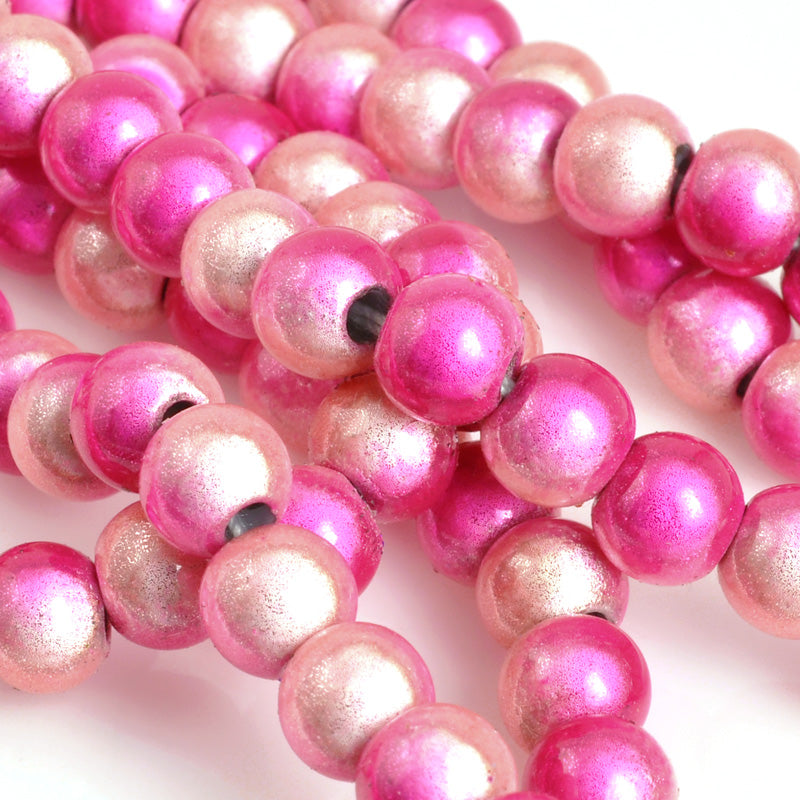 Beads-6mm Japanese Miracle Beads-Round-Two-Tone Pink-Quantity 1