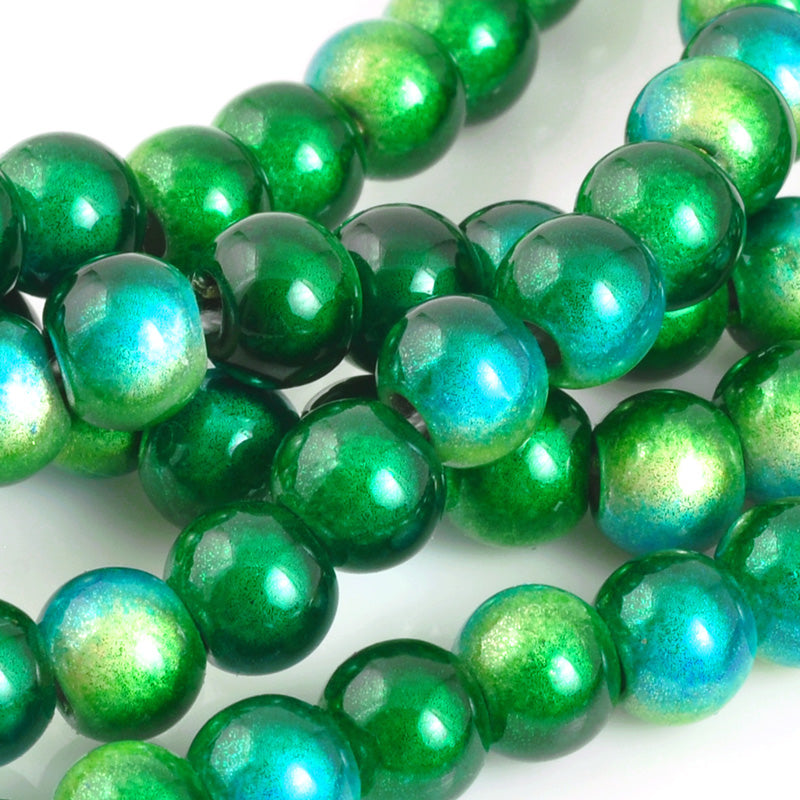 Beads-6mm Japanese Miracle Beads-Round-Yellow Green Two-Tone-Quantity 1