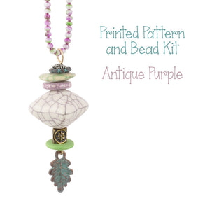 Beading Patterns-Printed Pattern and Bead Kit-Antique Purple-Bella