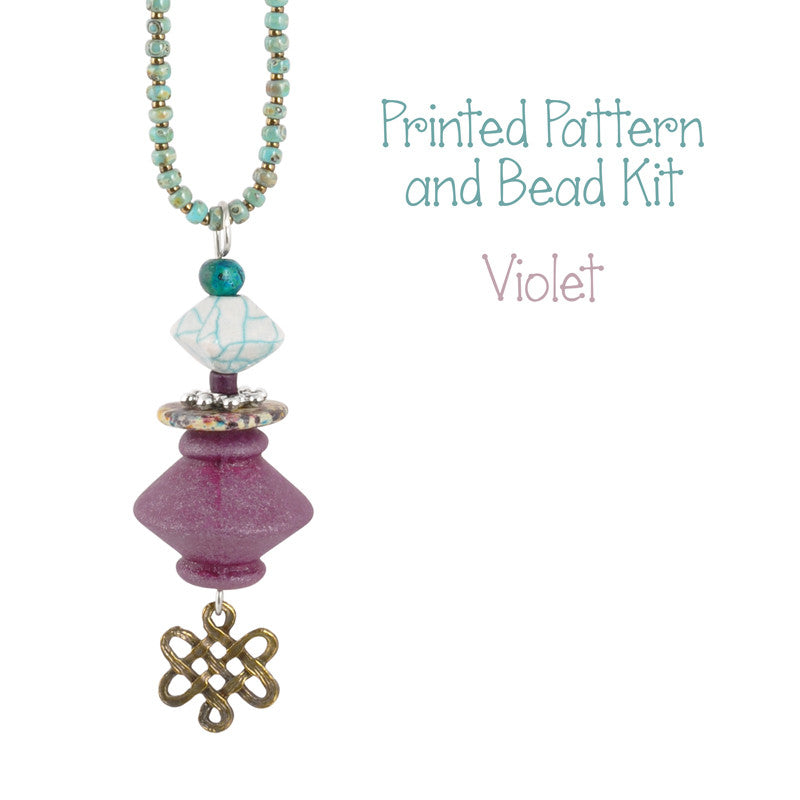 Beading Patterns-Printed Pattern and Bead Kit-Violet-Bella