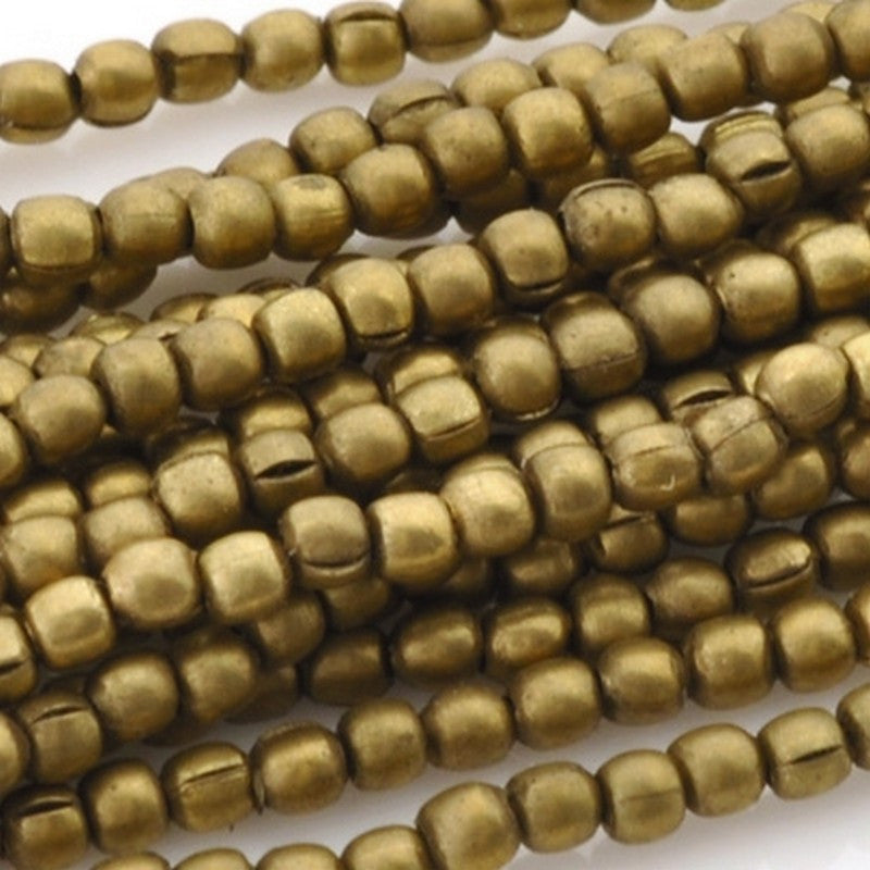 Brass-2mm Tiny Round Bead-Bronze-Quantity 24 Inch Strand
