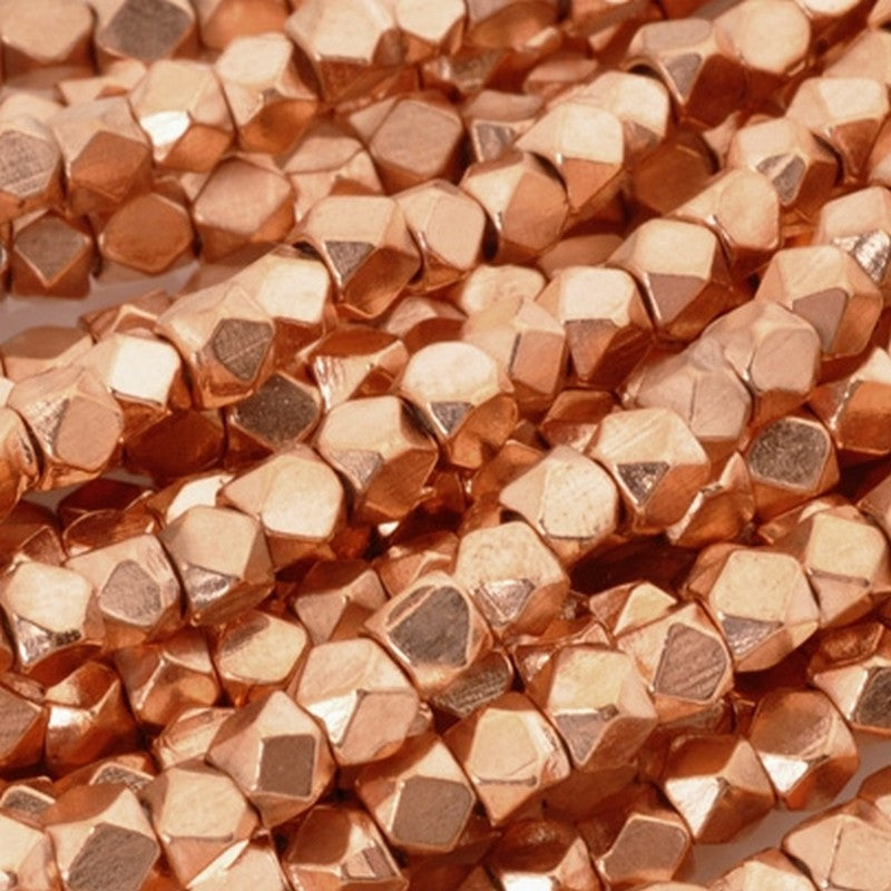 Brass-3.3mm Cornerless Cube Bead-Copper-24 Inch Strand