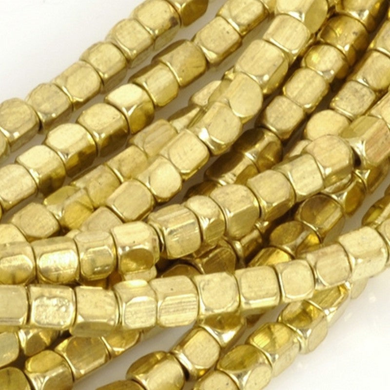 Brass-3.5mm Square Spacer Bead With Round Corners-Gold-24 Inch Strand
