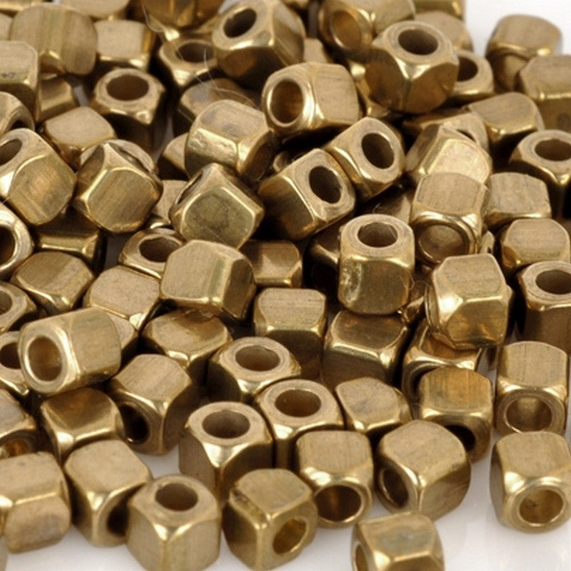 Brass-3mm Square Spacer Bead With Round Corners-Bronze-24 Inch Strand