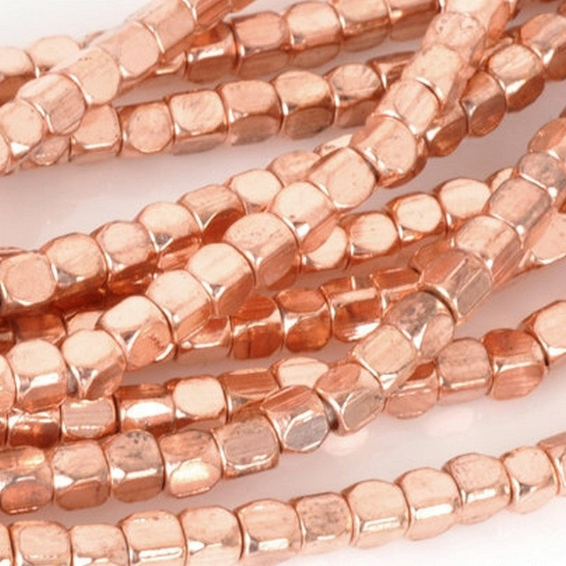Brass-3mm Square Spacer Bead With Round Corners-Copper-24 Inch Strand