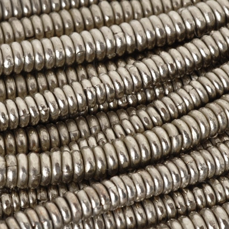 Brass-4mm Hishi Spacer Bead-White Metal-15 Inch Strand