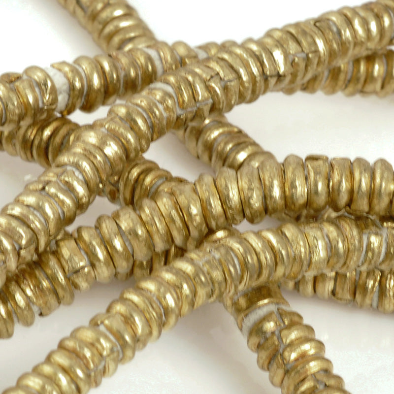 Brass-4mm Hishi Spacer Beads-Large Hole-Bronze-15 Inch Strand-Quantity 24