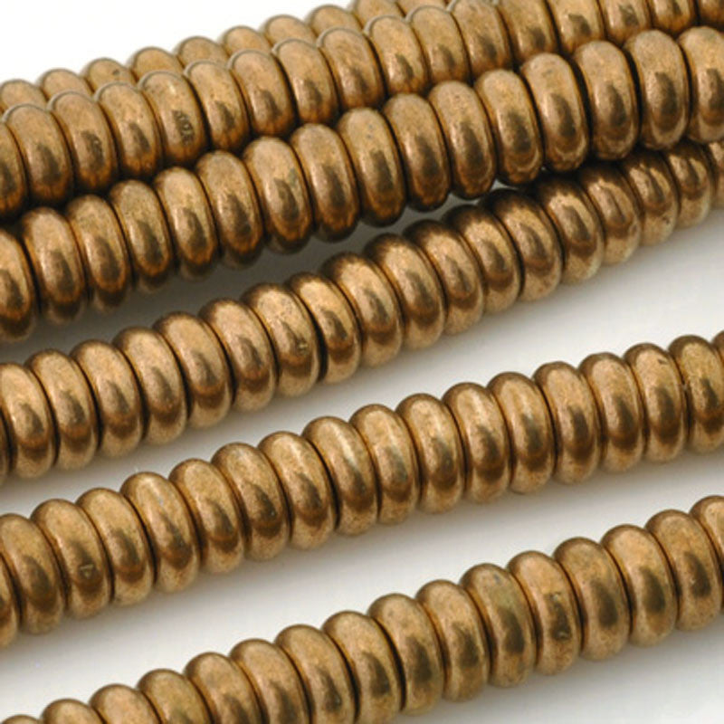 Brass-6mm Hishi Spacer Bead-Bronze-24 Inch Strand