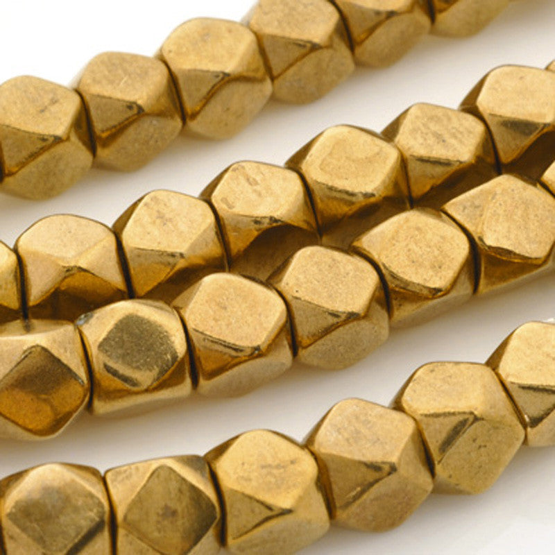 Brass-7mm Cornerless Cube Bead-Bronze