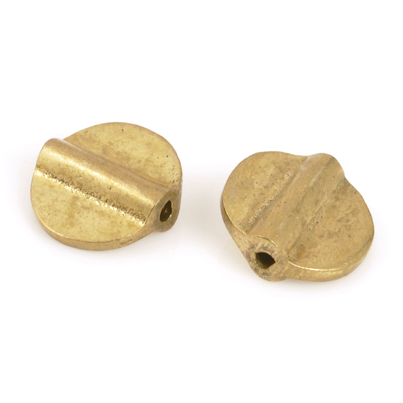 Brass Beads-11mm Flat Round Bead-Bronze-Quantity 2 Beads