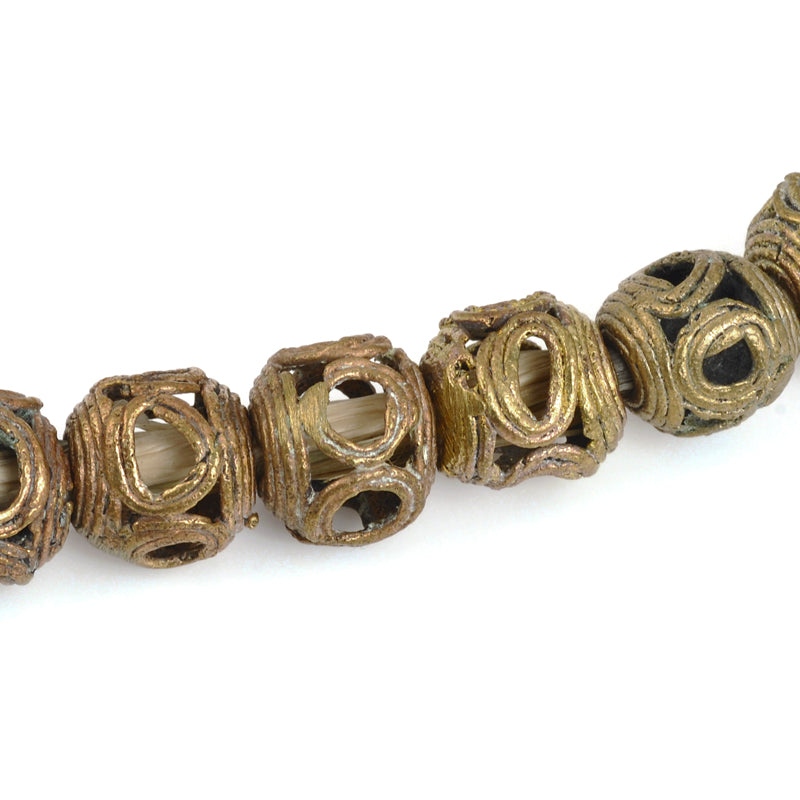 Brass Beads-14mm Round Eye Filigree Beads-Africa-Quantity 1