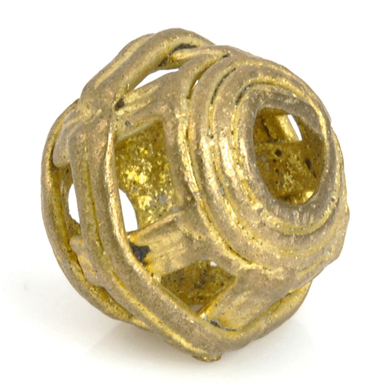 Brass Beads-14mm Striped Cage Round Filigree Globe Beads-Africa