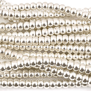 Brass Beads-6x8mm Round-Silver
