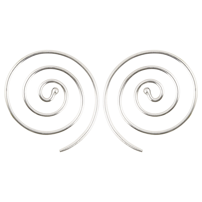 Finished Jewelry-Brass Simple Spiral Earrings-Silver-One Pair