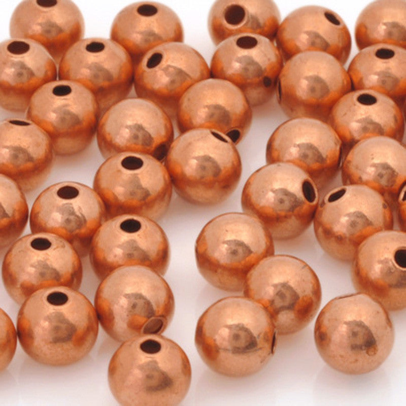 Brass-Metal Beads-6mm Round Seamed-Copper