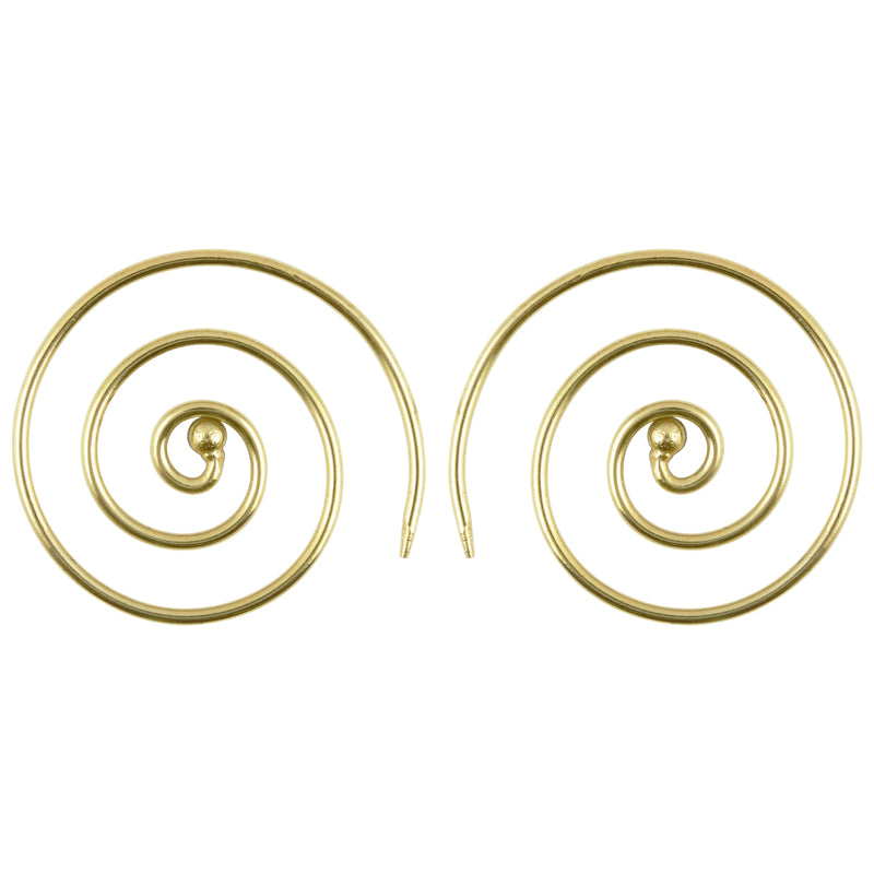 Finished Jewelry-Brass Simple Spiral Earrings-Gold
