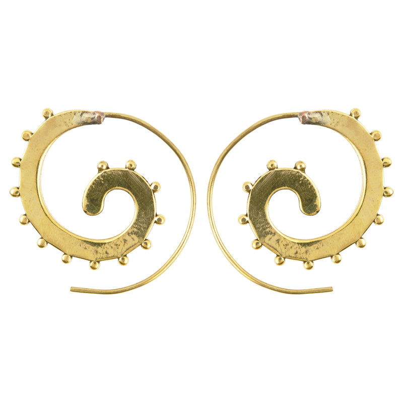 Finished Jewelry-Simple-Brass Studded Spiral Earrings-One Pair