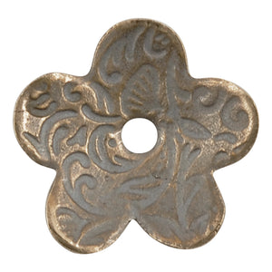 Bronze Casting-15mm Victorian Flower Bead Cap-Weathered Grey-Quantity 1