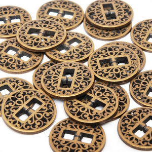 Button-12mm Metal Ornate-Antique Gold-Quantity 20