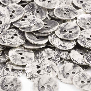 Button-16mm Button-Cornflake Casting-Antique Silver