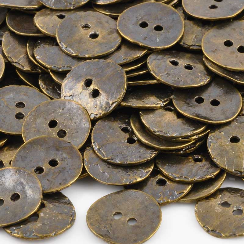 Button-16mm Cornflake Casting-Antique Bronze-Quantity 4