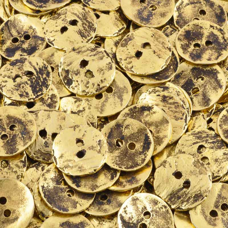 Button-16mm Cornflake Casting-Antique Gold-Quantity 4