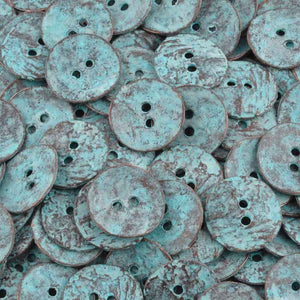 Button-16mm Cornflake Casting-Green Patina-Quantity 4