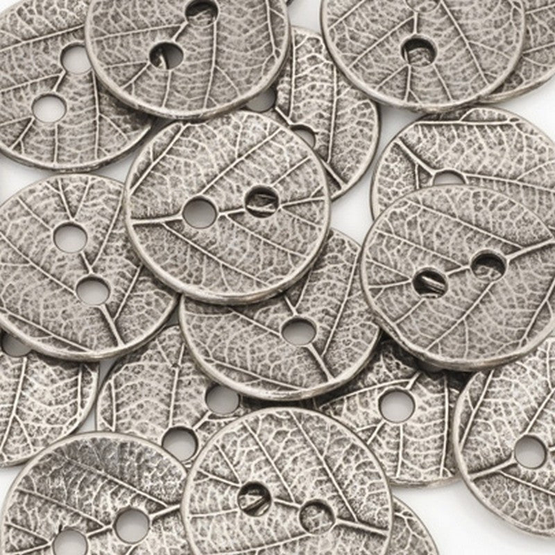 TierraCast Button-16mm Pewter Leaf Design-Two Sided