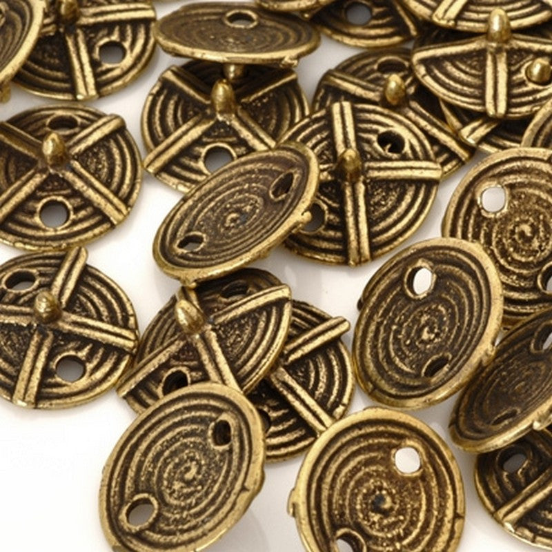Button-16mm Tribal Brass-Thin Spike-Antique Brass-Quantity 4