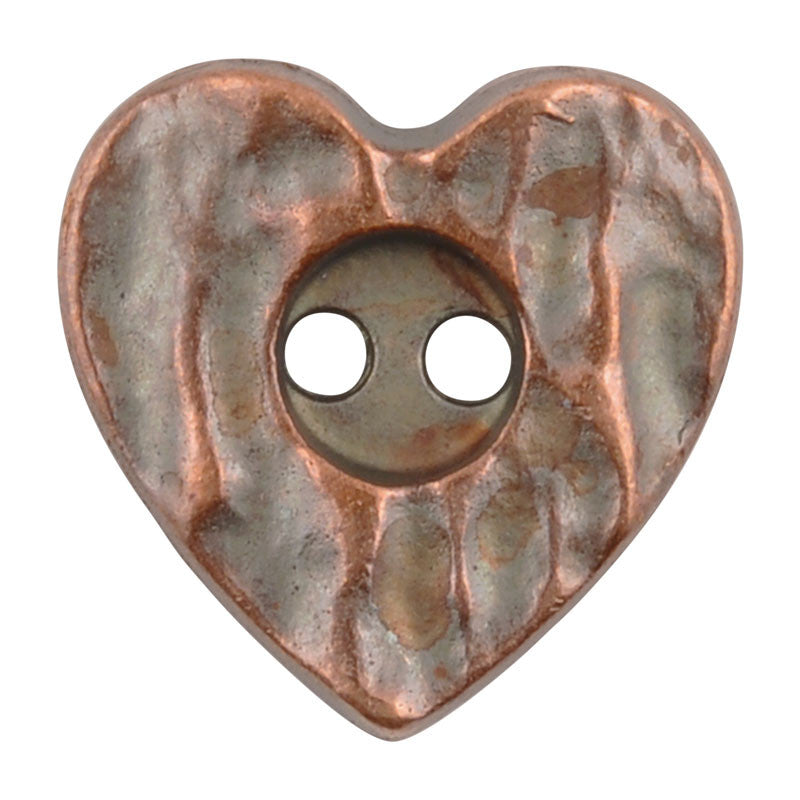 Button-18mm Rustic Heart-Antique Copper