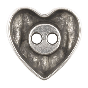 Button-18mm Rustic Heart-Antique Silver