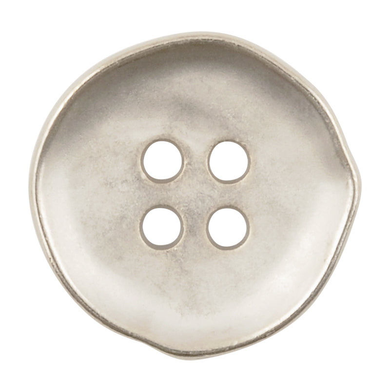 Button-19mm-Abstract Edge Pewter-Four Hole-Metal-Quantity 1