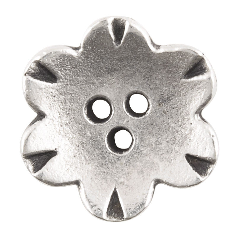 Button-19mm Flower-Antique Silver-Quantity 2