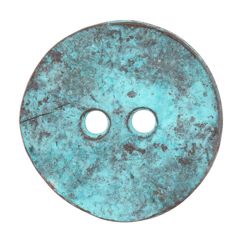 Button-20mm Cornflake Casting-Green Patina